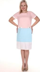 Sukienka Fokus dla puszystych z krótkim rękawem z okrągłym dekoltem