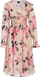 Sukienka Pinko rozkloszowana z długim rękawem z dekoltem w kształcie litery v