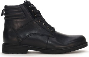 Czarne buty zimowe American Club sznurowane ze skóry