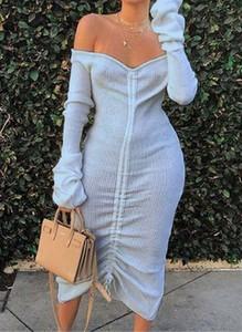 Sukienka Cikelly z długim rękawem w stylu casual asymetryczna