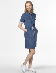 Niebieska sukienka comma, koszulowa z krótkim rękawem w stylu casual
