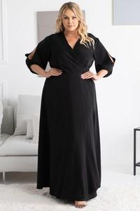Czarna sukienka KARKO maxi z dekoltem w kształcie litery v