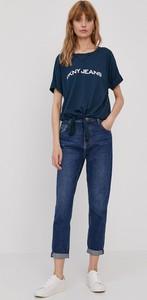Niebieski t-shirt DKNY z krótkim rękawem z dzianiny z okrągłym dekoltem