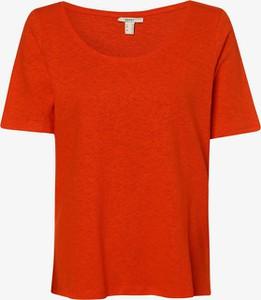 Pomarańczowy t-shirt Esprit z krótkim rękawem z okrągłym dekoltem