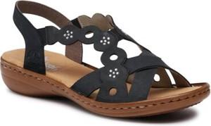 Granatowe sandały Rieker z płaską podeszwą z klamrami