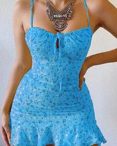 Niebieska sukienka Kendallme z dekoltem w kształcie litery v dopasowana