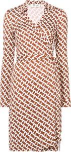 Brązowa sukienka Dvf Diane Von Furstenberg kopertowa z długim rękawem w stylu casual