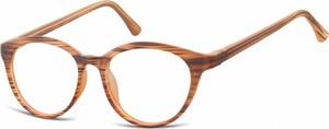 Stylion Oprawki korekcyjne okrągłe Lenonki zerówki Sunoptic CP140G brązowe-imitacja drewna
