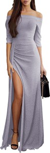 Niebieska sukienka DAFNIS z długim rękawem