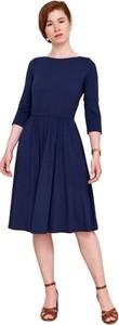 Niebieska sukienka Marie Zélie z dzianiny z długim rękawem