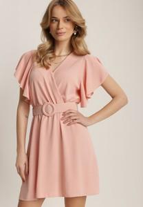 Sukienka Renee mini z krótkim rękawem z dekoltem w kształcie litery v