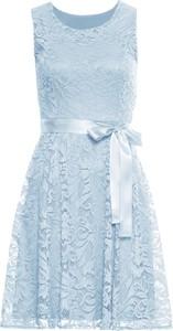 Niebieska sukienka bonprix BODYFLIRT z okrągłym dekoltem midi