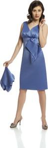 Niebieska sukienka Fokus bez rękawów gorsetowa