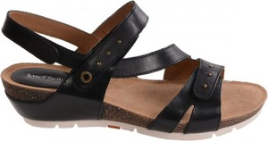 Czarne sandały josef seibel na koturnie w stylu casual na rzepy