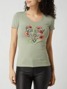 Zielony t-shirt Guess z krótkim rękawem
