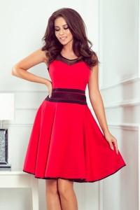 Czerwona sukienka NUMOCO z tiulu z okrągłym dekoltem