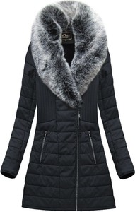 Czarny płaszcz Libland w stylu casual długa