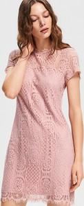 Różowa sukienka Reserved z długim rękawem mini