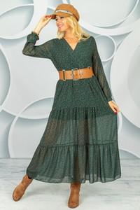 Zielona sukienka Made in Italy z dekoltem w kształcie litery v kopertowa w stylu casual