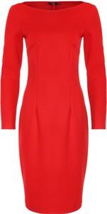 Czerwona sukienka Nife z dzianiny z długim rękawem