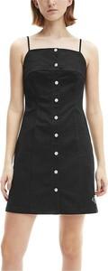 Czarna sukienka Calvin Klein bez rękawów mini z okrągłym dekoltem