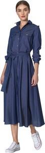 Niebieska sukienka Nife z bawełny z długim rękawem z kołnierzykiem