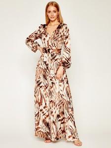 Sukienka Guess by Marciano z dekoltem w kształcie litery v w stylu boho z długim rękawem
