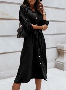 Czarna sukienka Cikelly z kołnierzykiem koszulowa midi