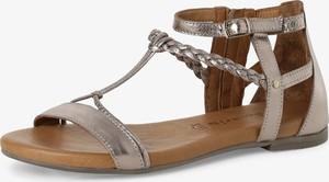 Złote sandały Tamaris w stylu casual z płaską podeszwą