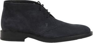 Czarne buty zimowe Tod's ze skóry sznurowane