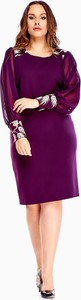 Fioletowa sukienka N/A midi dla puszystych z długim rękawem