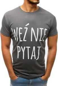 Brązowy t-shirt Dstreet w młodzieżowym stylu z bawełny