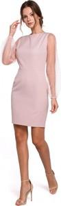 Różowa sukienka Makover z okrągłym dekoltem z tkaniny dla puszystych