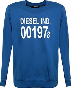 Niebieska bluza Diesel Clothes w młodzieżowym stylu z bawełny