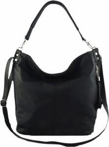 Czarna torebka TrendyTorebki w stylu glamour matowa na ramię