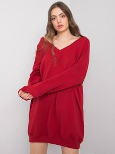 Czerwona sukienka Sheandher.pl z bawełny z dekoltem w kształcie litery v z długim rękawem