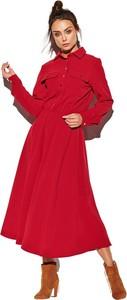Czerwona sukienka Lemoniade szmizjerka z długim rękawem