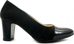 Czarne czółenka Tanex na średnim obcasie w stylu glamour z okrągłym noskiem