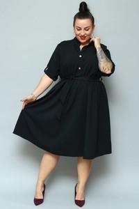 Czarna sukienka KARKO midi z długim rękawem z lnu