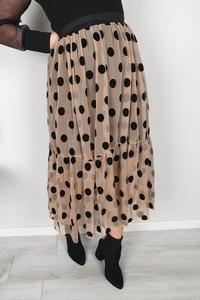 Brązowa spódnica MON BOUTIQUE midi w stylu casual z tiulu