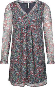 Sukienka Pepe Jeans prosta z dekoltem w kształcie litery v z długim rękawem