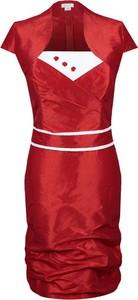 Czerwona sukienka Fokus z okrągłym dekoltem midi