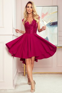 Czerwona sukienka NUMOCO mini asymetryczna z dekoltem w kształcie litery v