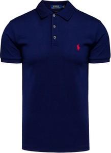 Granatowy t-shirt POLO RALPH LAUREN w stylu casual z tkaniny z krótkim rękawem