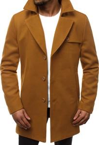 Brązowy płaszcz męski Ozonee w stylu casual