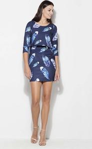 Niebieska sukienka Katrus z długim rękawem mini