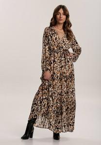 Brązowa sukienka Renee maxi z długim rękawem