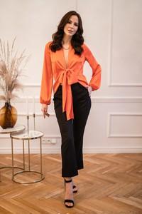 Pomarańczowa bluzka redifashion_com z długim rękawem z dekoltem w kształcie litery v