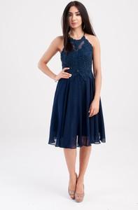 Sukienka Butik Ecru bez rękawów rozkloszowana z tiulu