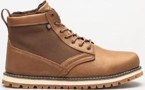Brązowe buty zimowe Element sznurowane